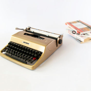 Repainted Metallic Gold & Serviced 1960s Portable Olivetti Lettera 32 Manual Typewriter. Includes Original Carry Case.