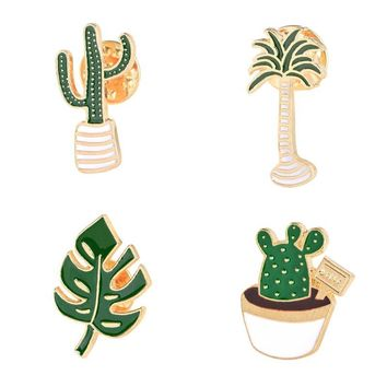 Trendy Green Potted Plants Coconut Tree Cactus Leaf Metal Brooch Pins DIY Button Sweater Denim Jacket Pin Badge Gifts Jewelry for Women AT_94_13