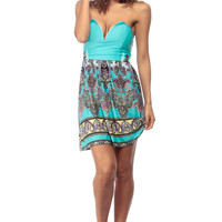 Aqua Plunging Paisley Print Dress