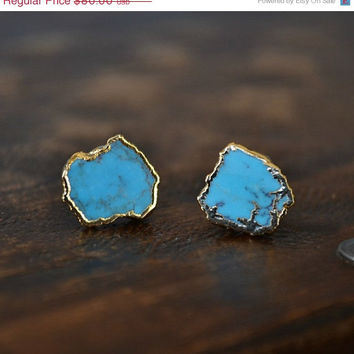 ON SALE Turquoise Electroformed 24K Gold  Earring Studs
