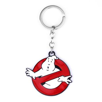 Movie Ghostbuster Keychains Cute White and Red Enamel Keyrings Gift for Best Friends