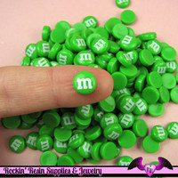 10 pcs Mini Green M&M Candy Nail Art Resin Kawaii Flatback Cabochons 8mm