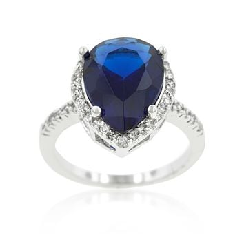 Della Pear Cut Sapphire Halo Cocktail Ring | 7.5ct | Cubic Zirconia