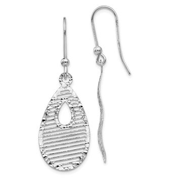 Leslies 14k White Gold Dangle Shepherd Hook Earrings