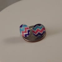 tiny chevron cabochon post earrings, colorful studs - minimalist jewelry, perfect for toddlers back to school fashion under 10 - stocking