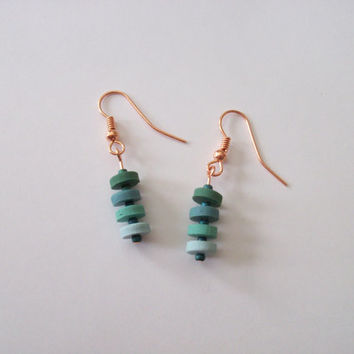 Beaded Polymer Clay Earrings, Dangle Earrings, Ombre Earrings