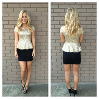 Gold & Black Crystal Peplum Sequin Dress