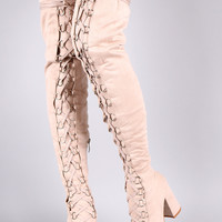 Suede Over The Knee Corset Lace Up Chunky Heel Boots
