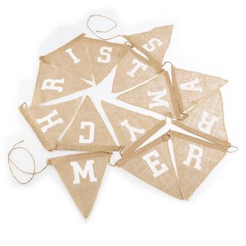 14pcs MERRY CHRISTMAS Printing Hessian Burlap Flag Banner Christmas Decoration Bunting