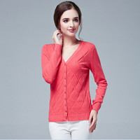 V-Neck Long Sleeved Knit Cardigan Jacket