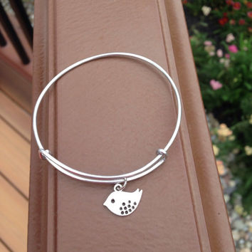 Bird Charm Bracelet / Alex and Ani Inspired Bangle