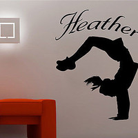Cheerleader Vinyl Sports Wall Decal Sticker w/Custom Name