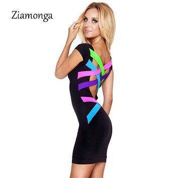 2017 New Women Backless Black Bandage Dress Sexy Bodycon Dress XS- XXL Vestidos Plus Size Dress Vintage Summer Casual Dress 0650