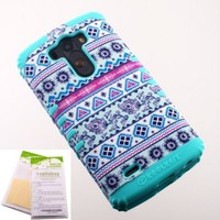 Blue Purple Aztec Tribal Pattern Snap-on on Light Teal Skin KoolKase Rocker 2 in 1 Hybrid Case Cover for LG G3 With 2 Screen Protector Films New in Retail Package