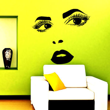 Wall Vinyl Decal Sticker Face of Perfect Woman Beauty saloon Art Design Room Nice Picture Decor Hall Wall Chu1193