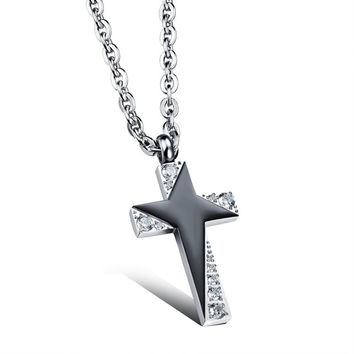 Star sparkling personal cross couple necklace for man only
