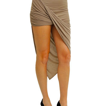 Swept Off My Feet Asymmetrical Skirt - Mocha