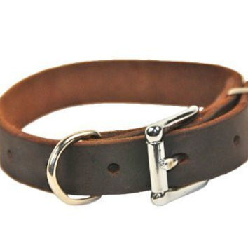 "Dean and Tyler ""B and B"", Basic Leather Dog Collar with Strong Nickel Hardware - Brown - Size 20-Inch by 1-Inch - Fits Neck 18-Inch to 22-Inch"