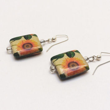 Sunflower earrings, flower earrings, sunflower jewelry, dangle earrings, pierced earrings, decoupage, orange and green