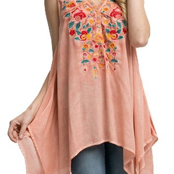 Andree by Unit Flowy Embroidered Sleevless Top Apricot