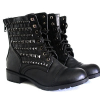Black Studded Combat Boots Black by VileBroccoliFur on Etsy