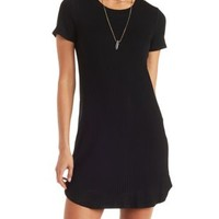 Black Ribbed Shift T-Shirt Dress by Charlotte Russe