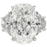 GIA Certified 11.07 Carat Total Oval and Half Moon Diamond and Platinum Ring
