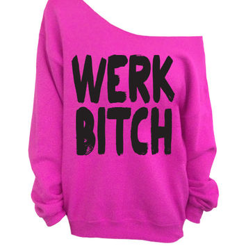 Werk Bitch - Pink Slouchy Oversized Sweater