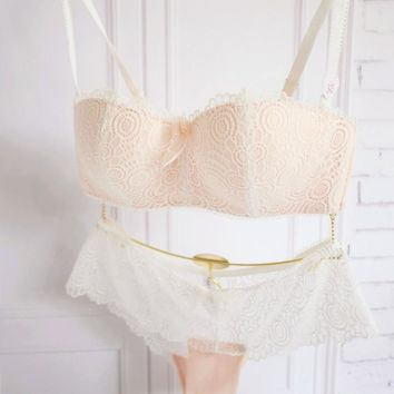The new romantic lace sexy gather no rims Bra half cup bra girl white underwear thin section