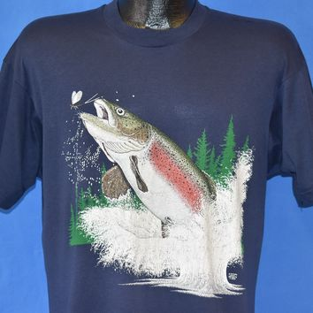 80s Rainbow Trout t-shirt Large