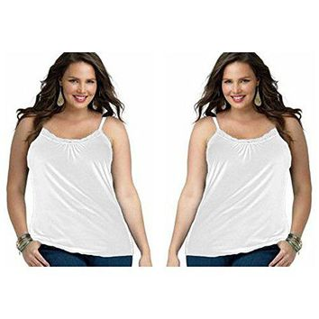 2Pack Just My Size Plus Size Womens Lace Shirred Front Solid Tank Cami