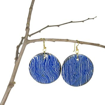 Handmade; LARGE Round Nerikomi Earrings; Vertical Waves: INDIGO