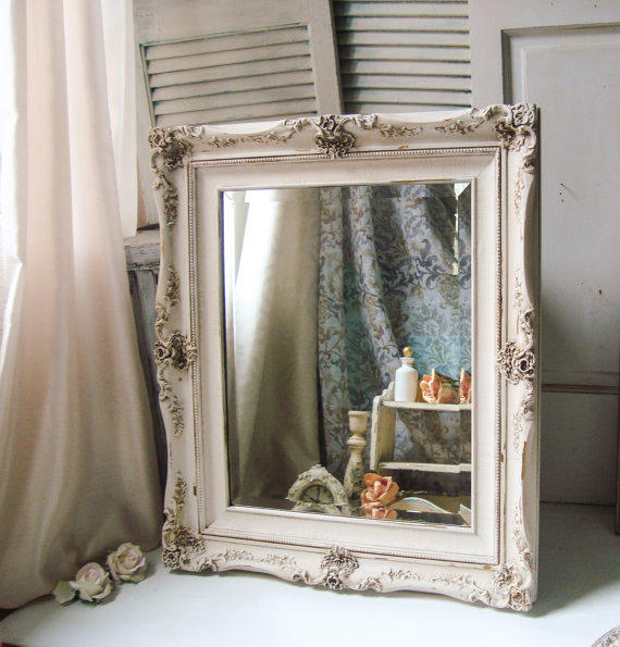 White distressed mirror large ornate from - Farmhouse style bathroom mirrors ...