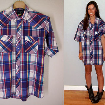 Vintage Wrangler Pearl Snap Button Short Sleeve Plaid Shirt,size L/XL, blue purple green yellow white red plaid striped
