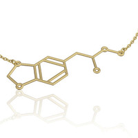 Mdma molecule necklace -14K gold fill , chemistry jewelry, chemistry necklace, molecule necklace