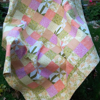 Floral Patchwork Quilt Pinwheel Lap Quilt in Greens, Pinks, Oranges and Yellow