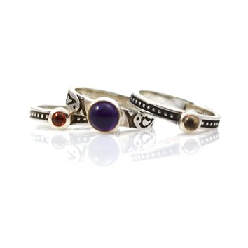 Stack Rings Sterling Silver With Amethyst, Smoky Quartz, and Garnet Size 6.5