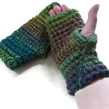 Fingerless Gloves/Mittens Crocheted in Greens, Teal & Plum. Original Design for Women and Mens Fashion Accessories, Wristwarmers.