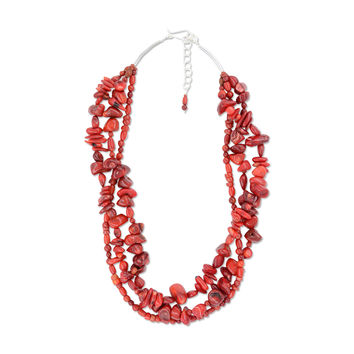 Alexandria Necklace - Red Bamboo Coral