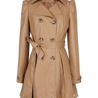 Khaki Double-breasted PU Trench Coat With Lace Hem - Choies.com