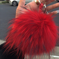 FAUX FUR RED POM POM KEY CHAIN