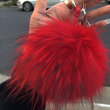 RED LUX FOX POM KEY CHAIN