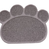 PetCee Cat Litter Mat Pet PVC Placemat Dog Mats for Food Pet Paw Shape Mat Dog Dish Dinner Food Water Bowl Mat Placemat (Grey,S,11.8x15.8 Inch)