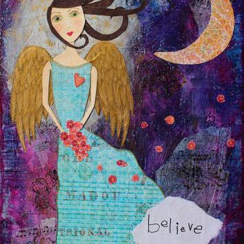 Whimsy Angel Print, Angel Art, Guardian Angel, Nursery Art, Kids Art, Purple, Moon, Angel Nursery Art, Angel Print,  Mixed Media, 8x10