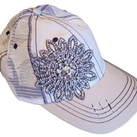 Women's Olive & Pique Large Rhinestone Flower Two-Tone Ball Cap (Beige/White/MeshBack)