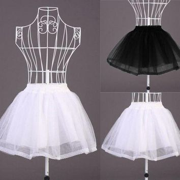Vocole Black White Lolita Maid Sheer Double Layered Petticoat Skirt
