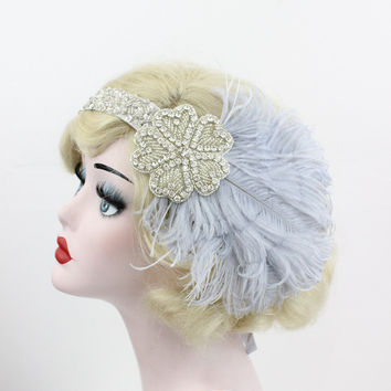 Gray Flapper Headband - Great Gatsby Headpiece -  Feather Fascinator - Prom Hair Accessory - Burlesque Costume - Halloween Costume