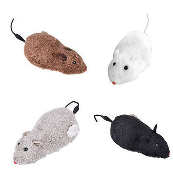 Wind Up Funny Running Mouse Rat Move Tail Cat Kitten Prank Toy Joking Gag GiftHU