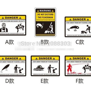 Funny Warning DANGER Fishing Sticker Personality Outdoor Fishing Car Sticker Fashion Fishing Hobby Motorcycle Decals Fish