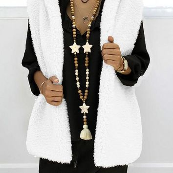 New White Pockets Faux Fur Hooded Oversize Casual Vest
